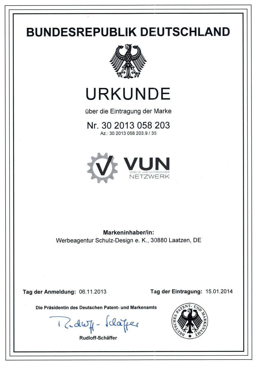 VUN Urkunde Deutsches Patent- und Markenamt